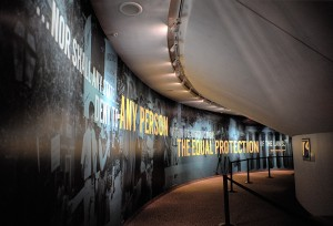 "The 14th Amendment leads visitors to the ""Speaking Out"" entrance. Photo courtesy the National Constitution Center."